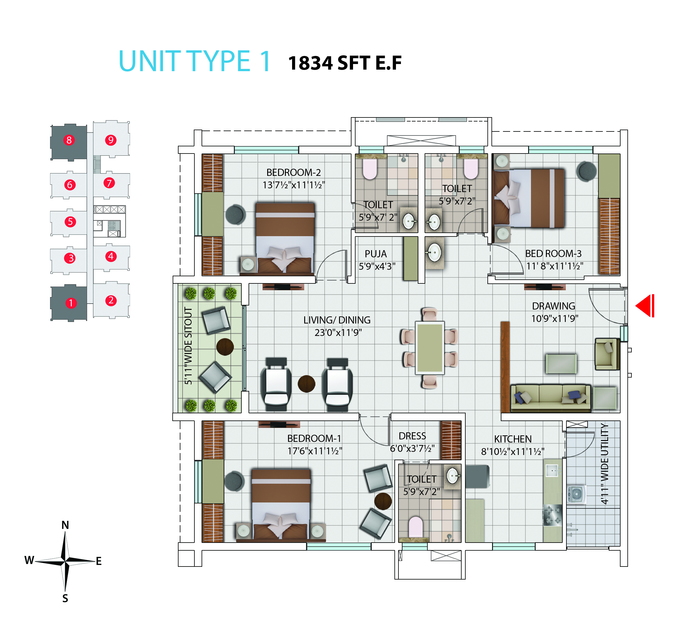 My Home Avatar Luxury 2 And 3 Bhk Apartments Flats In Gachibowli Electrical Wiring Diagram Bedroom Flat East Facing